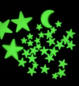 Glow In The Dark Stars - Lot Of 32 - Stars & Moon - Plastic
