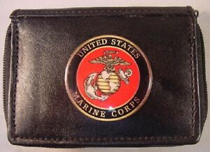 USMC MARINE CORPS GENUINE BLACK LEATHER 2 ZIPPER OUTSIDE ID WALLET NEW