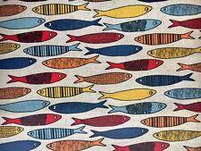 "0,5m Halbleinen Stoff bedruckt ""Sardinen bunt"", Fischmuster, 150 cm breit"