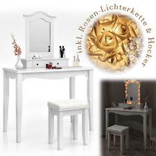 Schminktisch Weiß Hocker Kosmetiktisch Frisierkommode Frisiertisch Spiegel LED