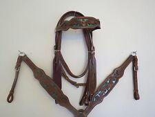 NEW LEATHER WESTERN HEADSTALL BRIDLE BREAST COLLAR TACK SET GRNLZDSD