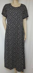 Laura Ashley Sommerkleid 44 XL schwarz vintage geblümt Blümchen 90er Baumwolle