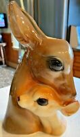 "BEAUTIFUL VTG Mid Century Royal Copley CERAMIC Deer & Fawn Vase Planter 9.25"" TL"