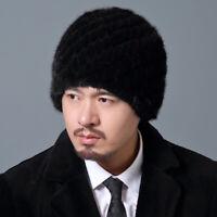 Men's Fur Hats 100% Real Mink Fur Knit Hats Winter Warm Stretch Knit Caps