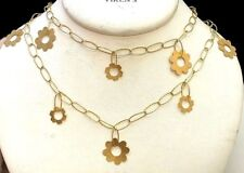 """19.2 Karat Gold 37"""" Long Portuguese Flower Necklace"""