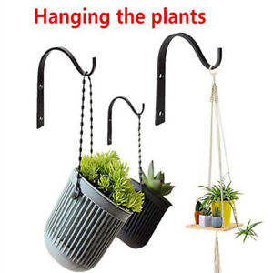 Metal Hanger Hook Plant Pots Hanging Basket Outdoor Garden Wall Brackets Holder