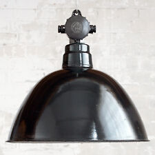 Grand Emaille-Fabriklampe Original Antique Lampe à Suspension Vintage