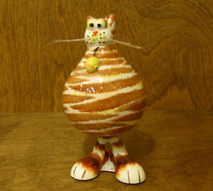 "ANIMAL ANTICS #4829-4  Brn/W CAT BOBBLE BODY 5"" NEW From Retail Store by RANGER"