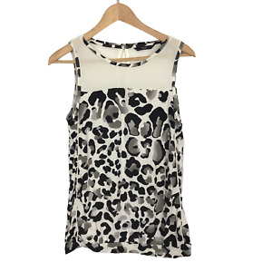 Next Size 12 EUR 40 Black & White Leopard Animal Print Stretch Sleeveless Top