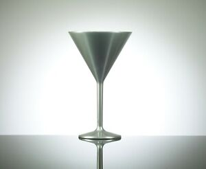 Elite 7oz Unbreakable Reusable Polycarbonate Plastic Silver Cocktail/Martini