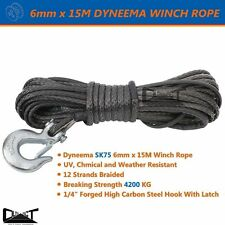 6MM X 15M DYNEEMA SK75  MARINE HAND WINCH ROPE BOAT CAR TOW RECOVERY BLK 10032