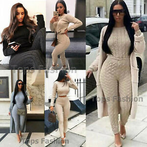 Ladies Womens Knitted Loungewear Suit Joggers Tracksuits Top Leggings 2 Pcs Set
