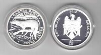 MOLDOVA - SILVER PROOF 50 LEI COIN 2012 YEAR RED BOOK OTTER + BOX + COA