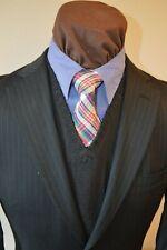 Mint Pronto Uomo mens 2btn black beaded stripe wool suit sz 39R 38R pants 34x28