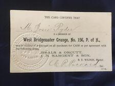West Bridgewater, Mass. Grange, No. 156, P. of H., early membership card
