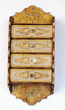 Vintage Italian Florentine Tole Gilt Wood  Wall Hanger 4 drawer Chest