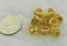 10PC Gold Tone Clear Crystal Rhinestone Spacer Bead Fit Charm Jewelry Making AA