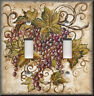 Metal Light Switch Plate Cover - Tuscan Kitchen Decor - Red Tuscan Grapes Decor