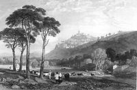 Umbria, TREVI CATHEDRAL CHURCH TOWER MONTE SERANO ~ Old 1833 Art Print Engraving