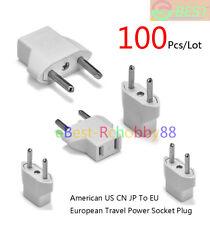 100Pcs/Lot American US CN JP To EU European German Plug Adapter Euro Travel Plug