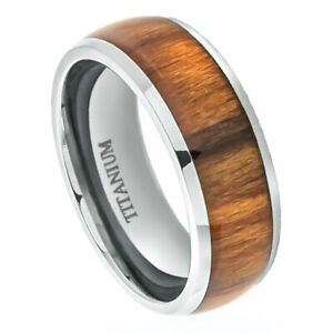 Men's 8mm Titanium Band Ring High Polished Domed with Santos Inlay