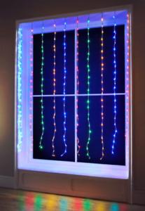 240 LED Christmas Cascading Waterfall 1.5 x 2M Window Lights Multicolour White