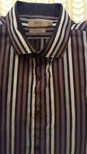 Mens Designer JEFF BANKS Black+Grey Striped Long Sleeve XL - Ex Cond