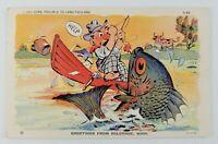 Postcard Linen Greetings From Belgrade Minnesota Fisherman Big Fish Comic 1941