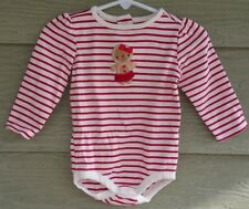 Gymboree Gingerbread Girl 6 9 12 Mo Red Pink Striped Cookie Holiday BODYSUIT LS