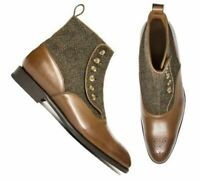 Mens Handmade Boots Ankle High Brown Leather & Tweed Formal, Casual Dress Shoes