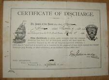 Navy Certificate of 1864 Discharge, 1891