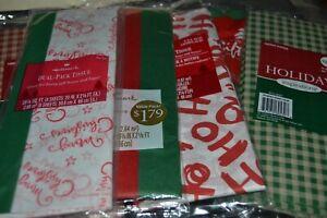 6 Gift Printed Paper Tissue Packs CHRISTMAS HO HO HO RED PLAID GREEN PLAID
