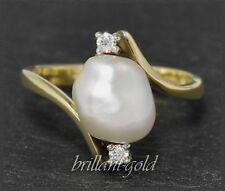 Diamant und Perle Ring aus 585 Gold, Gelbgold, Antik ca 1950, Cocktailring