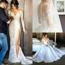 New Overskirt Mermaid Lace Illusion Arabic Dubai Wedding Dress Bride Bridal Gown