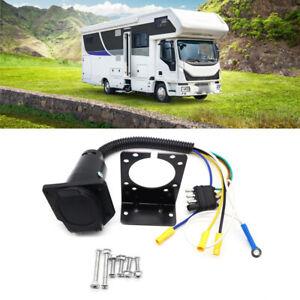 Trailer Plug 4-Way Flat to 7 Way Round RV Blade Wiring Adapter Hitch w/ Bracket