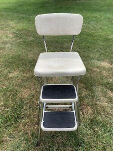 VTG Mid Century COSCO Kitchen Step Stool Chair Flip Seat Chrome Cream/White Seat