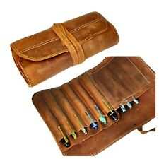 Pure Leather Pen Rollup case  for 12 pens - distressed rustic genuine leather