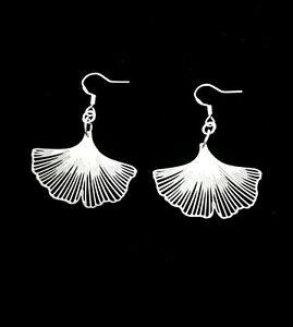 Ginkgo Biloba leaf earrings. Sterling silver 925 earring hooks. Gift boxed.