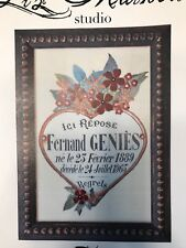 Liz Mathews Studios Stamped Embroidery Kit Fernand Floral French Linen Rare HTF