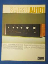 SANSUI AU-101 SALES BROCHURE ORIGINAL FACTORY ISSUE THE REAL THING