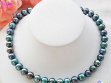 """New 9-10mm PEACOCK BLACK ROUND Freshwater cultured PEARL NECKLACE 18"""""""