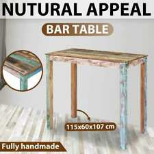 vidaXL Bar Table Solid Reclaimed Wood 115x60x107cm Side Dining Kitchen Antique