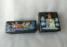 TWO VINTAGE RUSSIAN LACQUERED BOXES (SIGNED)