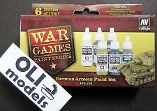 WARGAMES Series WW2 GERMAN ARMOUR Paint Set 6x17ml - Vallejo 70155