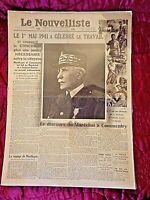 Journal du 1 mai 1941-LE NOUVELLISTE-Le 1er mai 1941 à célébré le travail-cadre