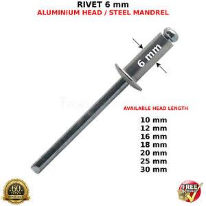 6 mm RIVET POP RIVETS ALUMINIUM HEAD STEEL MANDREL DOME HEADS BLIND STANDARD