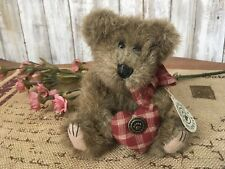 "Boyds Bears & Friends - Edward - Bearwear - Red Plad Heart - 6"" Plush Bear"