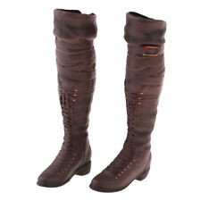 1:6 Scale Simulation Knee-high Female Lace Boot for 12'' Action Figure Brown