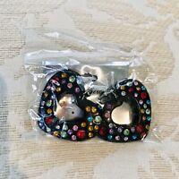 Large Heart Rhinestone Multicolor Dangle Earrings
