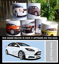 FORD FOCUS ST MK3 CAR ART MUG. CHOOSE YOUR CAR COLOUR. ADD REG DETAILS!